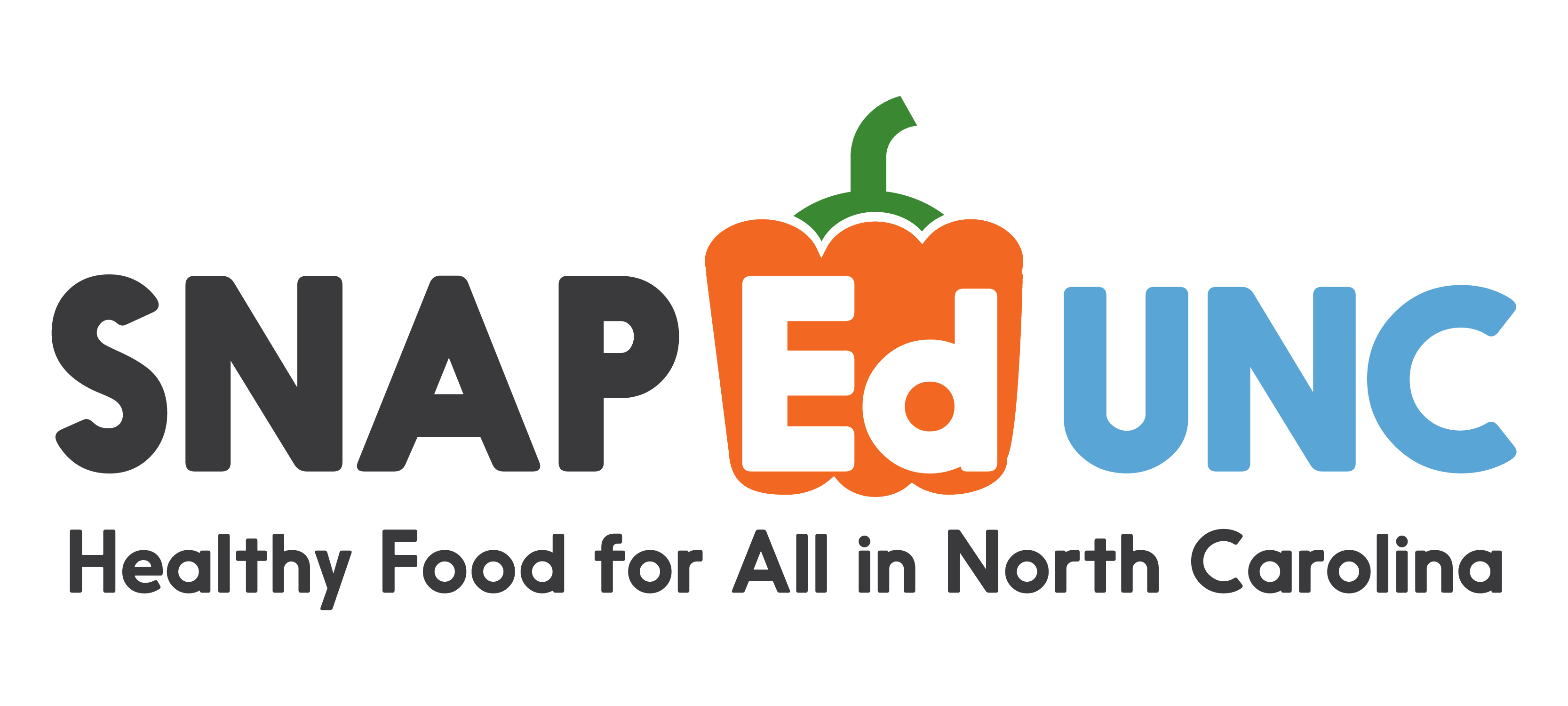 """Logo for the SNAP-Ed UNC, includes the line """"Healthy food for all in North Carolina"""""""