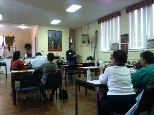 A SNAP-Ed Gardening Workshop taking place in Sampson County. Spring, 2015.