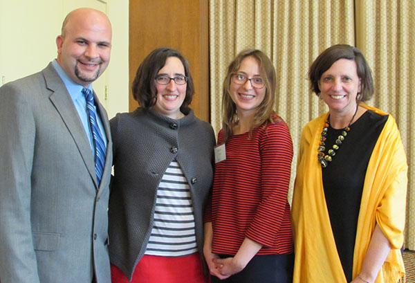 Tony Locklear, Daniella Uslan, Molly De Marco and Alexandra Lightfoot celebrate De Marco's award for engaged research