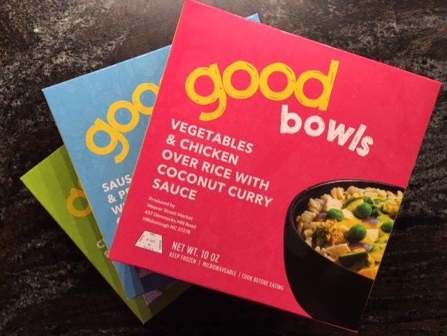 "Frozen meals labeled ""Good Bowls"""