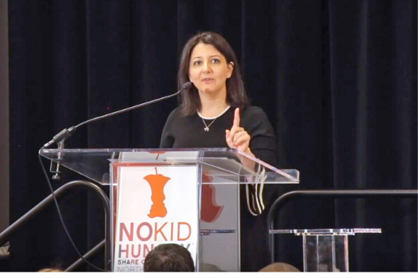 Mandy Cohen speaks at a No Kid Hungry event