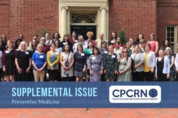 Group photo of CPCRN researchers with text saying Supplemental Issue of Preventive Medicine