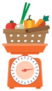 Grocery basket with vegetables in it on top of a scale