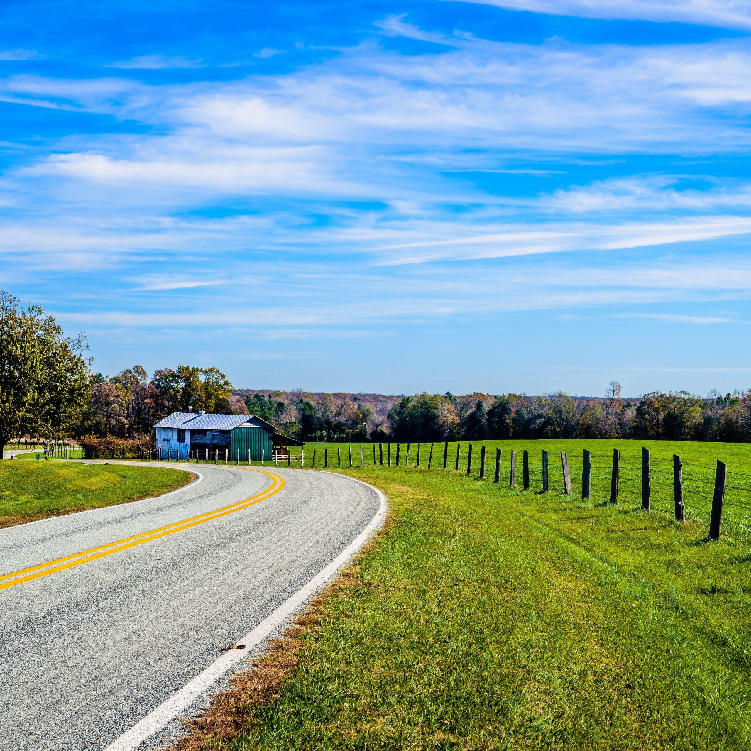 Rural highway in North Carolina