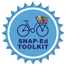 Logo for the SNAP-Ed Toolkit (a bicycle with a basket of produce)