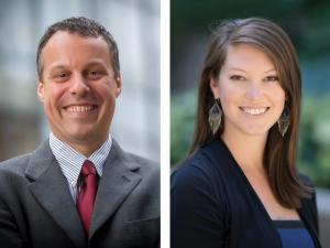 Headshots of Justin Trogdon and Stephanie Wheeler