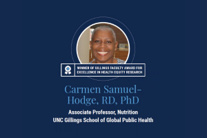 """Graphic with photo of Carmen Samuel-Hodge with blue ribbon icon and text: """"Winner of Gillings Faculty Award for Excellence in Health Equity Research"""""""